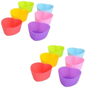 Glamaxy Heart Shape Silicone Cupcake Moulds Bakeware Muffin Bread Cake Caes Molds Reusable Nonstick & Heat Resisitant Baking Cups (Set Of 12)
