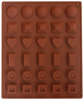 Glamaxy Silicone 6 Designs Chocolate Candy And Ice Mould/30 Slots(Set Of 1)