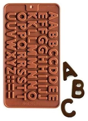 Glamaxy Silicone Alphabets Shape Chocolate Jelly Candy Mold/Cake Baking Mold/Bakeware Mould (Set Of 1)