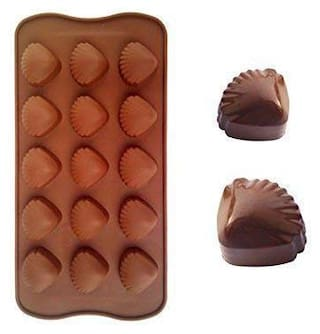 Glamaxy Silicon 15 Cavity Sea Shell Chocolate Mould/Ice Mould/Chocolate Decorating Mould (Set Of 1)