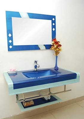Glass Lipcounter Basin with Mirror Steel Stand Full Set  By ARANAUT