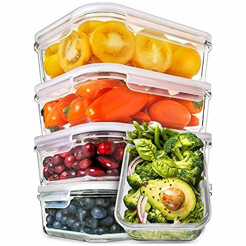 Glass Serveware Meal Prep Containers - Food With Lids Storage Airtight Lunch...