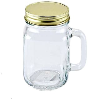 Glass Square Base Jar with Handle and Container with Rust-Proof Air-Tight Lid - 500 ml Glass Fridge Container, Grocery Container, Milk Container, Oil Container