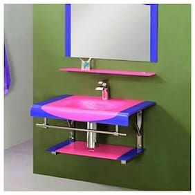 Glass Wash Basin with Mirror Steel Stand Full Set Pink By ARANAUT