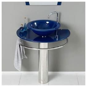 Glass Washbasin with Bowl, Mirror and Steel Stand Blue By ARANAUT