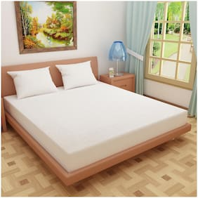 Glassiano Breathable Waterproof And Dustproof Twin Size (WxLxH : 30''X80''X9'') Luxury White Colour Elastic Mattress Protector - 1 pcs
