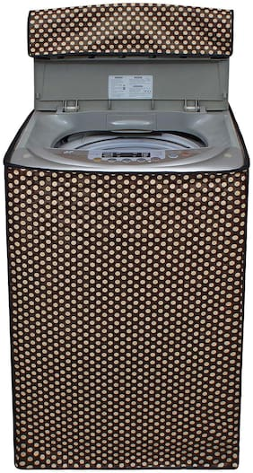 Glassiano Brown Polka Dot Printed Washing Machine Cover For LG T7581NEDL1 6.5 kg Fully Automatic Top Loading Washing Machine