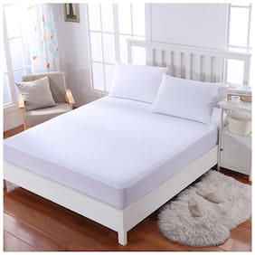 Glassiano Breathable Waterproof And Dustproof Twin  Size (WxLxH : 36''X72''X9'') Luxury White Colour Elastic Mattress Protector - 1 Pcs