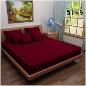 Glassiano Waterproof Terry Cotton Mattress Protector Twin Size/Fitted {Maroon} 36x75x(Skirting 10)