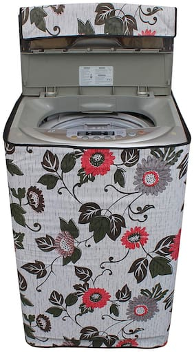 Glassiano Floral And Leafy Multi Coloured Waterproof & Dustproof Washing Machine Cover For Ifb Tl- Rcw 6.5 kg Aqua Fully Automatic Top Load 6.5 kg Washing Machine