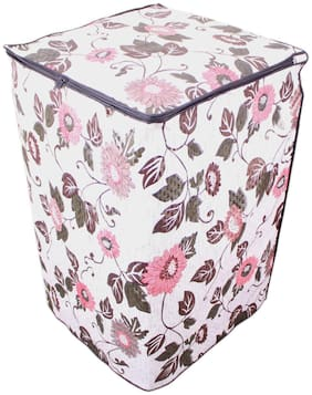 Glassiano Floral And Leafy Multi Coloured Waterproof & Dustproof Washing Machine Cover For Panasonic Na-f65h5 Fully Automatic Top Load 6.5 Kg Washing Machine