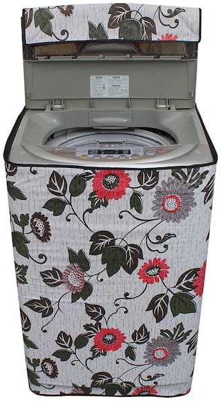 Glassiano Floral And Leafy Multi Coloured Waterproof & Dustproof Washing Machine Cover For Samsung Wa62k4200hy Fully Automatic Top Load 6.2 kg Washing Machine
