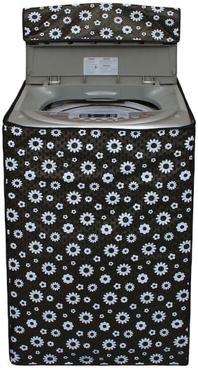 Glassiano Flower Printed Washing Machine Cover For LG T7567TEEL3 Fully Automatic Top Load 6.5 Kg