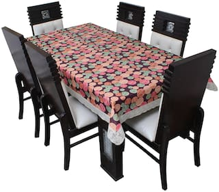 Glassiano Printed Waterproof  6 Seater Table Cover for Dinning Table Plastic;Size 60x90 Inch;S66