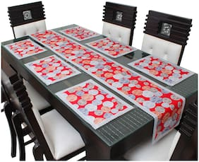 Glassiano PVC Printed Table Runner For Dinning Table 6 Seater With Table Mat;Multicolor (1 Table Runner and 6 Mats) SA70