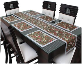 Glassiano PVC Printed Table Runner For Dinning Table 6 Seater With Table Mat;Multicolor (1 Table Runner and 6 Mats) SA63