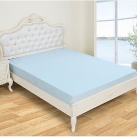Glassiano Waterproof Terry Luxury Sky Blue Mattress Protector (48x80) (wxl) for Single size bed