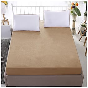 Glassiano Waterproof Terry Cotton Beige Colored Mattress Protector for Queen Size 66x84
