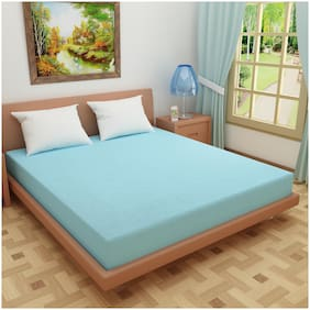 Glassiano Waterproof Terry Luxury Sky Blue Mattress Protector (30x72) (wxl) for Twin size bed