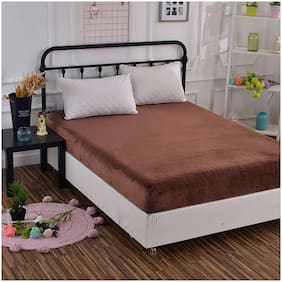 Glassiano Waterproof Terry Cotton Mattress Protector Queen Size / Fitted {Brown} 60x80x(Skirting 10)