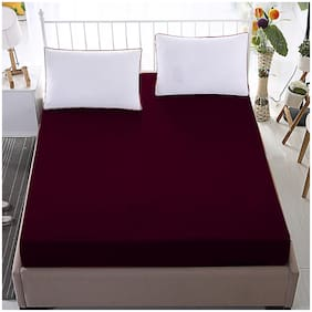 Glassiano Waterproof Terry Cotton Mattress Protector Twin Size/Fitted {Maroon} 30x75x(Skirting 10)