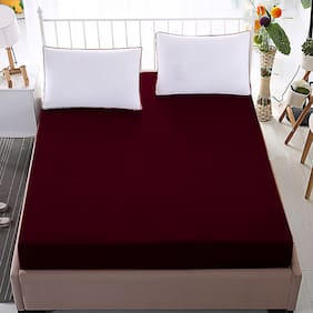 Glassiano Waterproof Terry Cotton Mattress Protector Queen Size/Fitted {Maroon} 66x78x(Skirting 10)