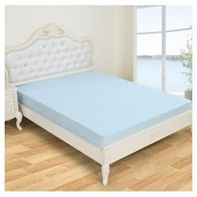 Glassiano Waterproof Terry Luxury Sky Blue Mattress Protector (60x84) (wxl) for Queen size bed