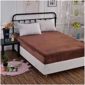 Glassiano Waterproof Terry Cotton Mattress Protector King Size / Fitted {Brown} 72x80x(Skirting 10)