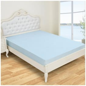 Glassiano Waterproof Terry Luxury Sky Blue Mattress Protector (48x72) (wxl) for Single size bed