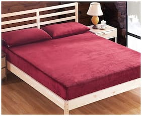 Glassiano Waterproof Terry Cotton Mattress Protector Single Size / Fitted {Maroon} 48x84x(Skirting 10)