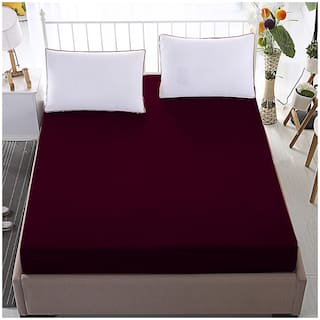 Glassiano Waterproof Terry Cotton Mattress Protector Single Size/Fitted {Maroon} 48x84x(Skirting 10)