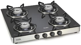 Glen 4 Burner Manual Regular Black Gas Stove