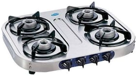 Glen 4 Burners Gas Stove - Silver , Auto Ignition
