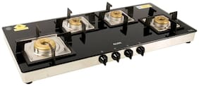 Glen 4 Burner Regular Black Gas Stove ,