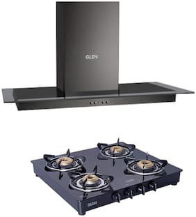 Glen Black Kitchen Chimney 6062 60cm 1000m3h Baffle Filter + Glen 4 Burner Gas Stove 1043 GT Brass Burner Black Cooktop