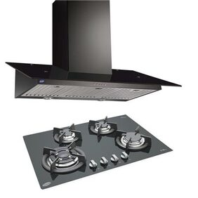 Glen Cooker Hood (Chimney) 6077 Black 1000BF 90cm LTW + BUILT IN HOB 1074 TR GLASS ( COMBOS )