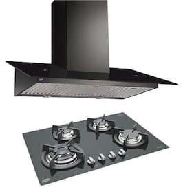Glen Cooker Hood (Chimney) 6077 Black 1000BF 90cm LTW + BUILT IN HOB 1074 TR GLASS ( COMBOS )