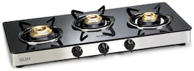 Glen 3 Burner Regular Black Gas Stove , ISI Certified