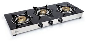 Glen 3 Burner ISI LPG Gas Stove 1030 GT Junior Brass Burners