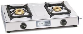 Glen 2 Burners Stainless Steel Gas Stove - Silver