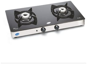 Glen 2 Burners Stainless Steel Gas Stove - Black , Auto Ignition