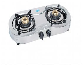 Glen 2 Burner Automatic Regular Silver Gas Stove ,