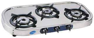 Glen 3 Burners Stainless Steel Gas Stove - Silver