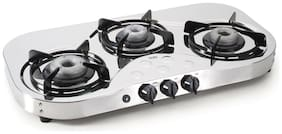 Glen 3 Burners Stainless Steel Gas Stove - Silver , Auto Ignition
