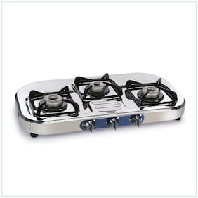 Glen 3 Burner Regular Silver Gas Stove ,