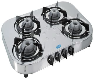 Glen 4 Burners Stainless Steel Gas Stove - Silver