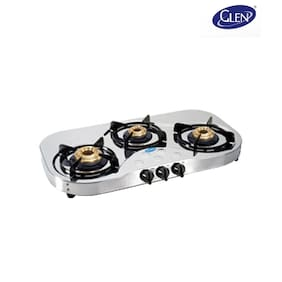 Glen Glen GL 1035 HF BB Gas Cooktop Stainless Steel Manual Gas Stove (3 Burners)
