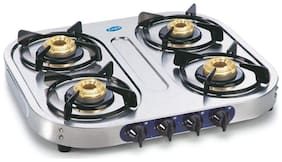 Glen 4 Burner Regular Silver Gas Stove , ISI Certified