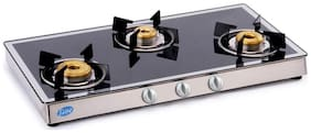 Glen 3 Burner Regular Black Gas Stove ,