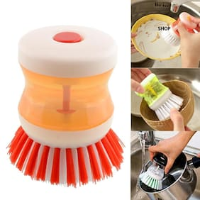 Glitter Cleaning Brush With Liquid Soap Dispenser